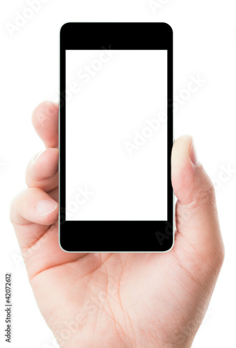 canvas print picture smartphone in hand with blank screen
