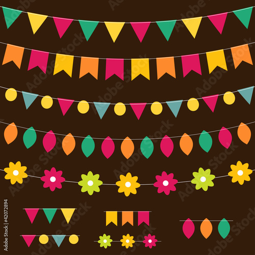 Bunting and garland set on dark background.