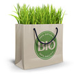Bio - 100% natural shopping bag on white background