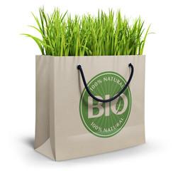 Bio - 100% natural shopping bag on white background