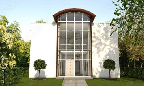 3d villa mit glasfassade