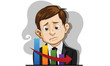 business man fail unhappy  illustration vector