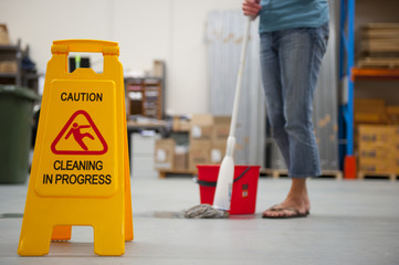 Cleaning caution wet floor