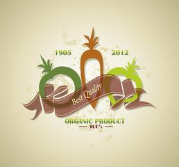organic and farm fresh food badge or label