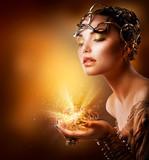 Fototapeta portret - złoty - Kobieta
