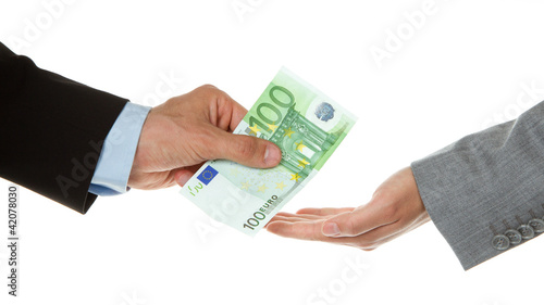 Man giving 100 euro to a woman (business)