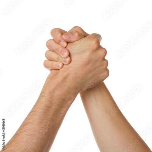 Man and woman in arm wrestlin