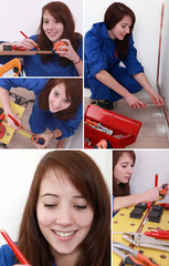 Montage of female plumber at work