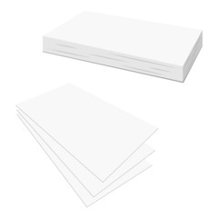 Blank business card set over white background