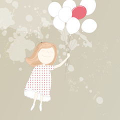 Vector illustration of a sweet girl with balloons