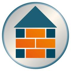 Haus Bau Stein auf Stein Kreis Logo Signet mit QXP 9 Datei