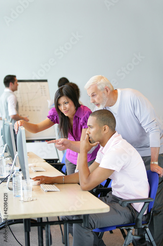 Business team at a computer