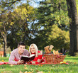 Young couple reading a book in a park, having a picnic