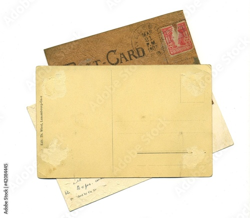 reverse side of an antique postal cards
