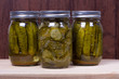 Jars of fresh preserved pickles
