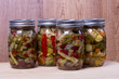 Preserved fresh vegetables in jars