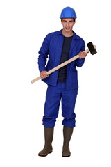 Laborer with a hammer
