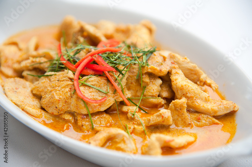 Fotobehang Restaurant Dried red pork coconut curry (Panaeng) : Famous Thai food