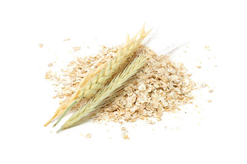 Wheat, Oat, Barley And Rye Flakes with Ears Isolated on White