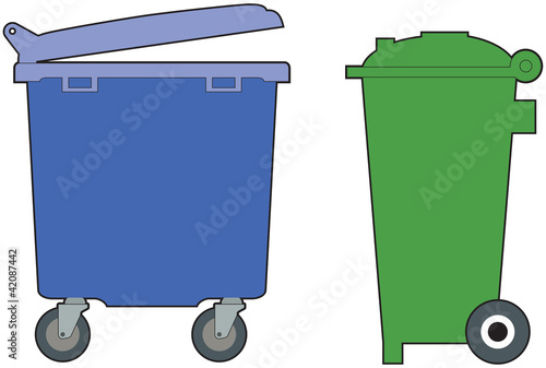 Green and blue, household and industrial wheelie bins