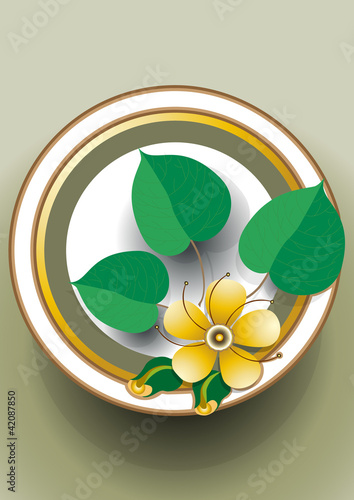 Oval frame with a delicate yellow flower