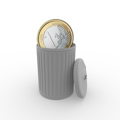 euro coin in a grey trash can