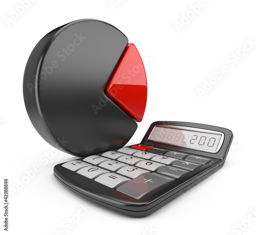 Calculator and circle chart. 3D icon isolated on white backgroun