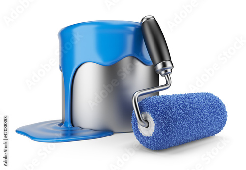 Paint roller and can. Painter concept. 3D Icon isolated on white