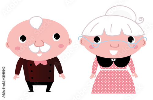 Retro Grandparents isolated on white
