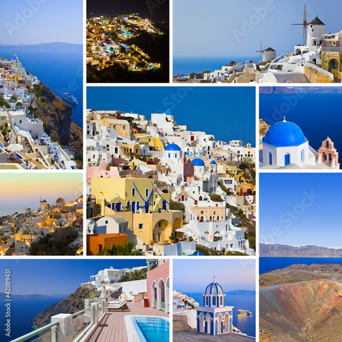 Foto op Canvas Collage of Santorini (Greece) images