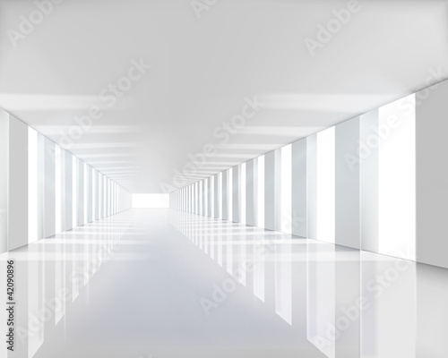 Empty white hall. Vector illustration. - 42090896