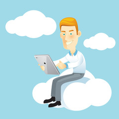 Business man using a tablet sitting on a cloud.