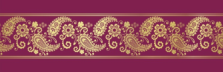 traditional paisley floral border, textile design, royal India