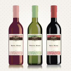 Red, white and rose wine