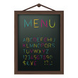 Cafe menu board with colored chalk alphabet. Vector.