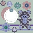 scrapbook objects, teddy bear and flowers
