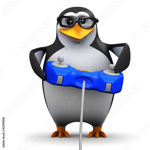 3d Penguin in glasses plays video games