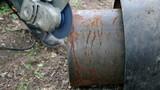 Industrial Worker Grinding Metal Tube poster