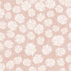 бесшовный фон из белых цветов, хризантемы, Print