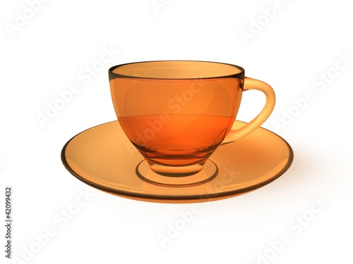 digital render of an orange glass cup