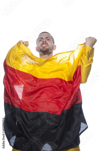 man with the flag of germany