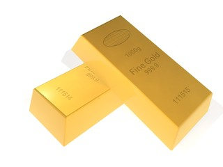 Gold bar on white background 999.9