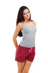 young woman wearing purple shorts