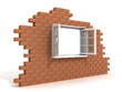 opened plastic window in a destroyed brick wall