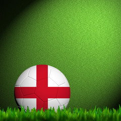 3D Football England Flag Patter in green grass