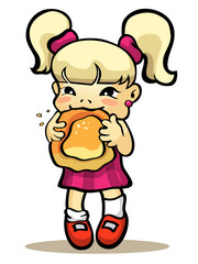 Girl eating bun