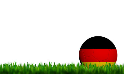 3D Football Germany Flag Patter in green grass on white backgrou