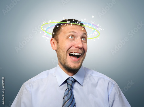 Stunned with happiness business manager