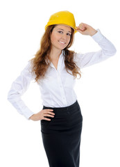 Businesswoman with construction helmet