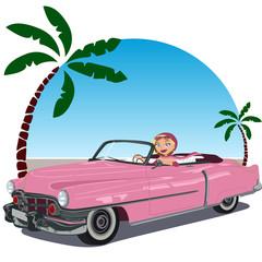 Chica en coche descapotable rosa de los años 50